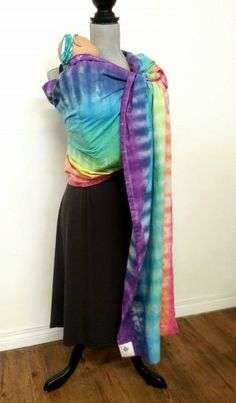 Rainbow organic cotton ring sling, tie dyed, one of a kind, extra long tail, PRIDE 2018 by UchiWraps on Etsy Kangaroo Care, Pride Week, Galaxy Pattern, Easy Wrap, Ring Sling, Pink Ring, How To Dye Fabric, Free Baby Stuff, Tie Dyed