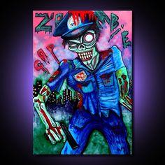 "Laura Barbosa ""Zombie Cop Takes Manhatten""  http://www.laurabarbosaart.com/resources/img/artworks/27299.jpg"