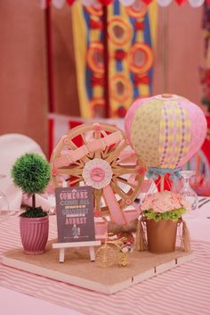 Hot air balloon and Ferris wheel table centerpiece Vintage Pastel Carnival Birthday Party Carousel Birthday Parties, Carousel Party, Graduation Party Themes, Unicorn Birthday Parties, First Birthday Parties, First Birthdays, Third Birthday, Slumber Party Invitations, Birthday Party Invitation Wording
