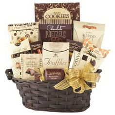 Golden Impression Holiday and Gift Basket Show your appreciation with this generous sampling of gourmet fare. This gift contains many traditional Wine Country Themed Gift Baskets, Gourmet Gift Baskets, Chocolate Wafers, Chocolate Covered Pretzels, Sugar Popcorn, Corporate Gift Baskets, Chocolate Delight, Christmas Baskets, Business Gifts