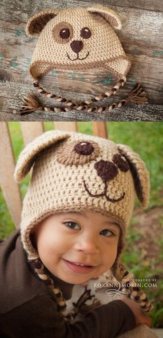 Crochet Puppy Dog Hat. Great FREE pattern. For the outer ears and eye patch I finished it with a reverse single crochet stitch. Pattern: http://www.repeatcrafterme.com/2013/01/crochet-puppy-hat-pattern.html ☆•★Teresa Restegui http://www.pinterest.com/teretegui/★•☆