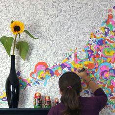 www.thefancy.com Behang om zelf in te kleuren!