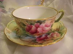 "French Vintage Tea Cups | FRENCH ROSES TEA CUP & SAUCER"" ~ Antique France Limoges French ..."