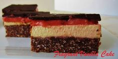 Chocolate Peanut Strawberry Cheescake! Crust: Blend raw peanuts (salted or honey roasted) & Oreo cookies until creamy, add sugar and oil according to taste.  Layer1: Cake leftover with chocolate syrup and dark chocolate bits.  Layer2: Cream cheese, milk, powdered sugar, bit of strawberry jell-o powder and water (mix until thick).  Layer3: Microwave strawberry jam with water to form syrup. Refrigerate each layer alone for about an hour each, and leave all overnight for ice creamy results!