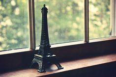 Eiffel tower in a window