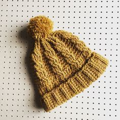 Dark Mustard Cable crochet bobble hat by the Alley Alley Oh see it in TheManchesterBee Etsy shop