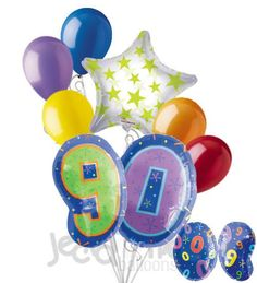 90th Birthday Themed Number Balloon Bouquet
