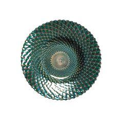 "Iridescent Decorative Glass Bowl Plate Dish Table Decor, 9"" Diameter #KHD"