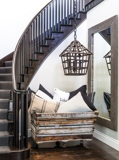 Winding staircase in Diane Keaton's Pacific Palisades Home. Diane Keaton Houses, Characters, and Quotes. lighting wooden crate on casters Diane Keaton, Restored Farmhouse, Pacific Palisades, Celebrity Houses, House And Home Magazine, Stairways, Interior Inspiration, Design Inspiration, Design Ideas