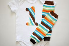 Brown Orange and Turquoise Striped Number or by ShortandSweetPeas, $19.00