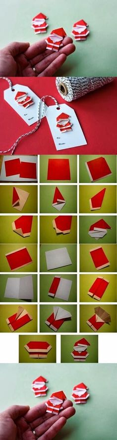 Cute gift tags in origami style: Santa Claus paper .- Cute gift tags in origami style: paper napkins fold. Noel Christmas, Christmas Gift Tags, Christmas Projects, Holiday Crafts, Christmas Ornaments, Christmas Ideas, Father Christmas, Christmas Wrapping, Primitive Christmas