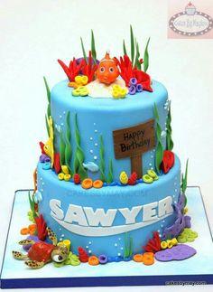 Finding Nemo Cake Finding Nemo Cake, Finding Dory, Dory Cake, Ocean Cakes, 2 Birthday Cake, Decadent Cakes, Cute Cakes, Cake Creations, Cake Designs