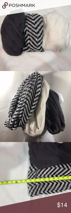 Bundle of 3 Infinity Scarves Bundle of three infinity scarves.   See photo for measurements.  Feel free to ask any questions. Bundle to save. I send private offers on jewelry and accessories bundles could include free shipping. Accessories Scarves & Wraps