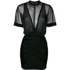 Balmain ruched mini dress (81.415 RUB) ❤ liked on Polyvore featuring dresses, vestidos, black, short dresses, v neck dress, short sleeve dress, sleeveless dress and short-sleeve dresses