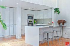 Gramercy Loft white modern kitchen - modern - kitchen - new york - Marie Burgos Design
