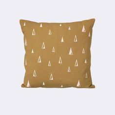 This cushion of Ferm Living is still a beautiful sight? The Cone cushion includes playful triangles. The yellow curry Cone cushion from Ferm Living has a gold z Brown Pillows, Modern Throw Pillows, Decorative Throw Pillows, Scandinavian Nursery Furniture, Grey Home Decor, Embroidered Cushions, Curry, Kids Pillows, Burke Decor