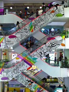 THAILAND..... BANGKOK  Escalators in one of many large shopping centres.