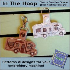 Class C Campers, Machine Embroidery Projects, Embroidery Ideas, Drawing Programs, Kam Snaps, Key Fobs, Sell Items, Bag Tag, Hoop