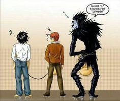 Death Note - Raito 'Light' Yagami x L 'Ryuuzaki' Lawliet & Ryuk Death Note Ryuk, Death Note Anime, Death Note Funny, Death Note Fanart, Shinigami, L X Light, Manga Anime, Death Note Cosplay, Death Note Light