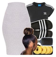 """adidas slides"" by bbynisa ❤ liked on Polyvore featuring adidas, Lindt, adidas Originals and Orlando Pita"
