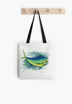 "Tote Bag • ""Mahi Mahi Splash"" - Watercolor art of a bull mahi, (aka dolphin fish or dorado) by Amber Marine ••• AmberMarineArt.com ••• ©"