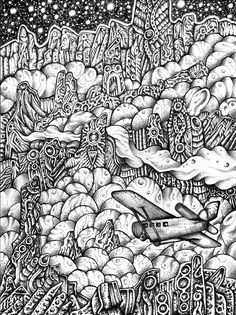 Artist: Jeff Grimal - At the Mountains of Madness 24x32 Pencil and rotring