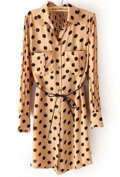 Khaki Polka Dot Drawstring Pockets Pleated Chiffon Dress