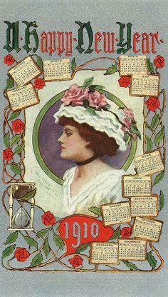Vintage New Year postcard, 1910.