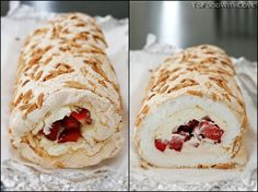 To Food with Love: Pavlova Roulade with Strawberries and Mascarpone Cream