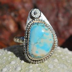 Turquoise Ring - Sterling Silver Turquoise Ring - Genuine Turquoise Ring - Southwestern Ring - Candelaria Turquoise - Size ? Ring by EarthsBountyGems on Etsy