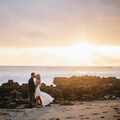 A stunning sunrise beach engagement session.
