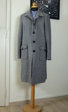 Herringbone womens winter coat by MrsDarksidesArtWork on Etsy Winter Coats Women, Herringbone, Fur Coat, Raincoat, Trending Outfits, Jackets, Etsy, Shopping, Vintage