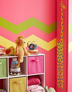 "Turn a Growth Chart into Nursery Decor: ""Watch your child grow with a special growth chart made by you. Make it with colorful paint and the adorable downloadable giraffe stencil."""
