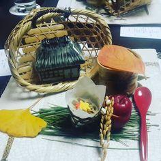 Еда. Тыквенный суп яблочный мусс кубик мраморной говядины с корнем лотоса рыба в кунжутном соусе.  #japan #kaiseki #Food by arisu_krd