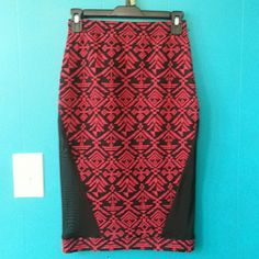 "*HP 2/13*Aztec Print Mesh Side Pencil Skirt Black and red aztec print with black see through mesh on both sides creating a sexy silhouette. Worn once and in excellent shape. Measurements: 13""; length-25.5""; mesh length-14.5, about 9"" length from waist to where mesh starts. Material : 95%polyester, 5% spandex. Made in U.S.A. KTOO Skirts Pencil"