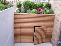Make Up Storage, Storage Bins, Storage Ideas, Roof Storage, Stair Storage, Storage Design, Bin Store Garden, Kleiner Pool Design, Pool Shed