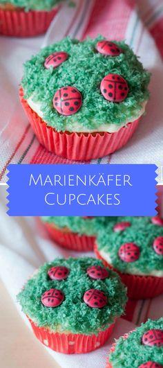 Marienkäfer Cupcakes mit Smarties.  Kindergeburtstag, Lustige Cupcakes, Lustiges Essen, Feiern, Backen für Kinder, Sommer Party, Smarties