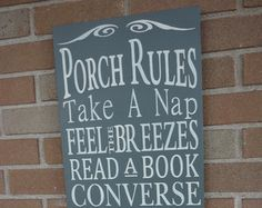 Porch Rules SignPrimitive wood SignPorch by DAWNSPAINTING on Etsy