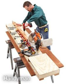 How to Build a Miter Saw Table - Step by Step | The Family Handyman. I am going to try this!