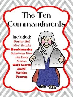 Teach the 10 Commandments with this packet! Included in the set are these products: 10 Poster Set, Mini Booklet, Bookmarks, Stained Glass Coloring Page with Roman Numerals, Word Search, Maze & Writing Prompt.   Great for Sunday School and Bible School!!!