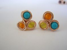 Trinity Studs Wire Wrapped stones Stud Earrings Post by idooidoo, $15.00