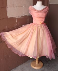 Vintage 1950's Dress // 50s 60s Pink and Yellow Chiffon Party Prom Dress // Cupcake Dress with Draped Collar and Bow // DIVINE by TrueValueVintage on Etsy