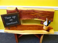 Wedding guest sign in bench with back made to order  on Etsy, $350.00