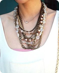 What: layered necklaces Where: Pinterest Why: jewelry always dresses up a simple outfit, I love mixing different necklaces together.