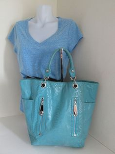 PERLINA Turquoise Blue Large Leather Snake Skin Embossed Glazed Tote Bag | Clothing, Shoes & Accessories, Women's Handbags & Bags, Handbags & Purses | eBay!