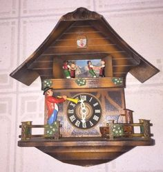 Vintage-30-Hr-Cuckoo-Clock-Music-Box-Parts-Or-Repair-Made-In-Sweden
