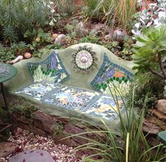 Open Gardens Australia - Tickle Tank Garden features a vibrant array of spring bulbs,hardy natives,cottage plants all enhanced by garden art of mosaics and sculptures made from recycled materials.