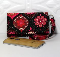 Cell Phone Card Wallet for a smart phone / Wristlet Purse by Cucio on Etsy