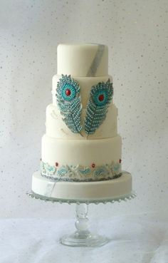 White Wedding with Peacock Feathers By Panel7124 on CakeCentral.com