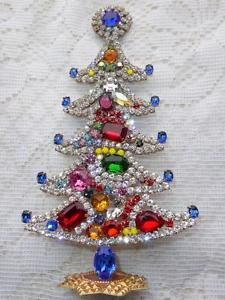 AMAZING VINTAGE JEWELRY CZECH RHINESTONE CHRISTMAS TREE STANDING